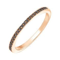 Кольцо из красного золота с бриллиантами и родированием 000141227 17 размера от Zlato