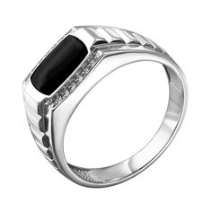 Серебряный перстень-печатка с эмалью и цирконием 000140641 21 размера от Zlato