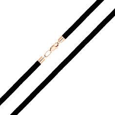 Шнурок из черного текстиля и красного золота 000141358 45 размера от Zlato