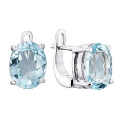 Серебряные серьги с голубыми топазами 000136770 от Zlato