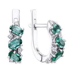 Серебряные серьги с зеленым кварцем и цирконием 000124695 от Zlato