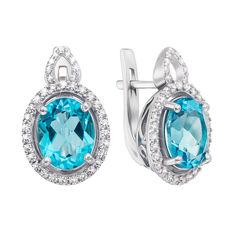 Серебряные серьги с кварцем под голубой топаз и фианитами 000136146 от Zlato