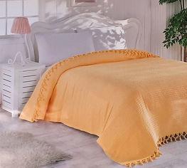 Акция на Покрывало-плед Checkers IzziHome светло-оранжевый 220х240 см от Podushka