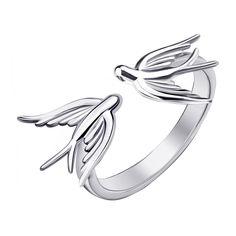 Серебряное разомкнутое кольцо Пара ласточек 000064238 18 размера от Zlato