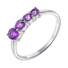 Акция на Серебряное кольцо с аметистами 000140581 17.5 размера от Zlato
