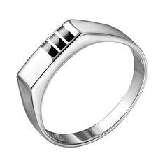 Серебряный перстень-печатка с эмалью 000140660 19 размера от Zlato