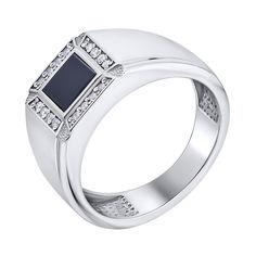Серебряный перстень-печатка с ониксом и фианитами 000140545 21.5 размера от Zlato