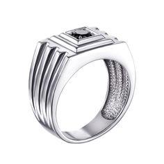 Серебряный перстень-печатка с черным цирконием 000119311 22 размера от Zlato