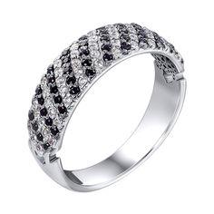Серебряное кольцо с черными и белыми фианитами 000119291 16 размера от Zlato