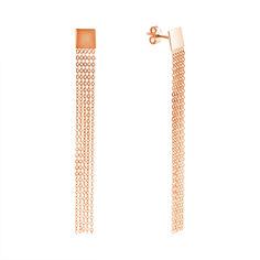 Золотые серьги-подвески в красном цвете с пятью цепочками 000117494 от Zlato