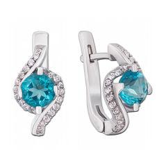 Серебряные серьги с голубым кварцем и фианитами 000135033 от Zlato