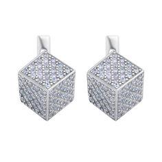 Серебряные объемные серьги с цирконием 000116614 от Zlato