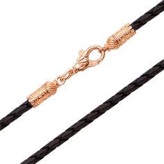 Кожаный шнурок с золотым замочком в виде рыбки 000103597 45 размера от Zlato