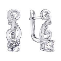 Серебряные серьги с фианитами 000140636 от Zlato
