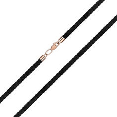 Черный синтетический шнурок с замком из красного золота, 4мм 000141614 50 размера от Zlato