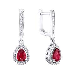 Серебряные серьги-подвески с рубинами и фианитами 000144897 от Zlato