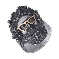 Серебряное кольцо Zeus в золотых очках с чернением 000103163 19.5 размера от Zlato