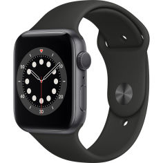 Акция на Смарт-часы APPLE Watch S6 GPS 44 Space Grey Alum Black Sp/B (M00H3UL/A) от Foxtrot