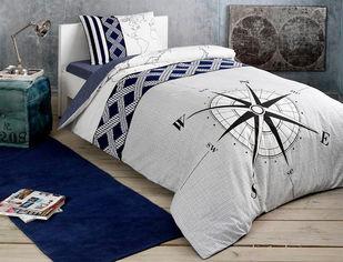 Акция на Комплект постельного белья TAC Ранфорс Navi V01 lacivert 160x220 см (TAC60203491) от Rozetka