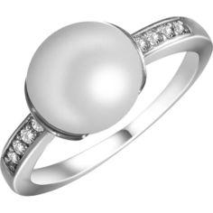 Кольцо из серебра с жемчугом и куб. циркониями, размер 16.5 (146527) от Allo UA