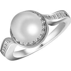 Кольцо из серебра с жемчугом (пресноводным) и куб. циркониями, размер 16.5 (1701824) от Allo UA