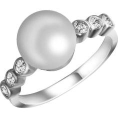 Кольцо из серебра с жемчугом (пресноводным) и куб. циркониями, размер 18.5 (1701822) от Allo UA