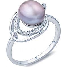 Кольцо из серебра с жемчугом и куб. циркониями, размер 16 (810667) от Allo UA