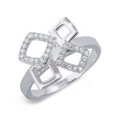 Акция на Кольцо из серебра с куб. циркониями, размер 17 (141605) от Allo UA