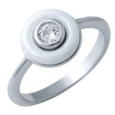 Акция на Кольцо из серебра с куб. цирконием и керамикой, размер 16.5 (1552055) от Allo UA