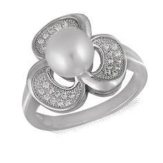 Акция на Кольцо из серебра с куб. циркониями и жемчугом (искусст.), размер 17 (072150) от Allo UA