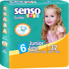 Акция на Детские подгузники  Senso Baby Ecoline юниор-экстра,размер 6,15-30 кг, 32 шт (4810703000889) от Allo UA