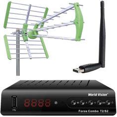 Акция на Комплект: Ресивер World Vision Foros Combo T2/S2 + Эфирная антенна Т2 World Vision Maxima L + USB Wi-Fi адаптер МТ7601 от Allo UA