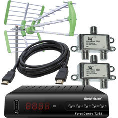 Акция на Комплект: Ресивер World Vision Foros Combo T2/S2 + Эфирная антенна Т2 World Vision Maxima L + 2 шт. Сумматор Diplexer SD01 SAT/TV + HDMI Кабель 0.8 м от Allo UA