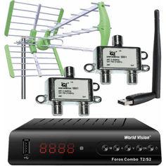Акция на Комплект: Ресивер World Vision Foros Combo T2/S2 + Эфирная антенна Т2 World Vision Maxima L + 2 шт. Сумматор Diplexer SD01 SAT/TV + USB Wi-Fi адаптер МТ7601 от Allo UA