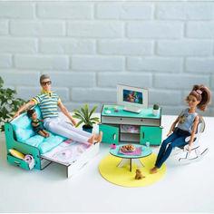 Акция на Мебель для кукольного домика Barbie NestWood Гостиная мятная (kmb002m) от Allo UA