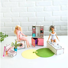 Акция на Мебель для кукольного домика Barbie NestWood Ванная розовая (kmb001) от Allo UA
