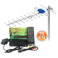 Акция на Дачный комплект Т2 : DVB-T2 тюнер Т23 с функциями медиаплеера и IPTV/WebTV-плеера + Антенна внешняя Terestrial Дальнобой 75 км ) от Allo UA