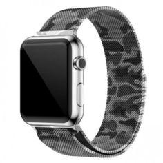 Акция на Браслет Ремешок Milanese Loop (Миланская петля) для смарт-часов Apple Watch 38 мм Black-Gray (Черно-серый) от Allo UA