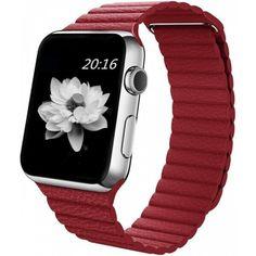 Акция на Ремешок Leather Loop Band для смарт-часов Apple Watch 44 мм Red (Красный) от Allo UA