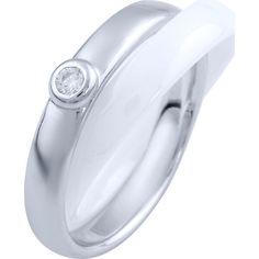 Акция на Кольцо из серебра с куб. цирконием и керамикой, размер 17.5 (1719788) от Allo UA