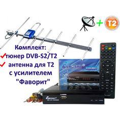 Акция на Комплект DVB-S2/T2 Комбинированный тюнер Eurosky ES-19 Combo + антенна для Т2 внешняя Eurosky Фаворит/Favorit с усилителем 55 км от Allo UA