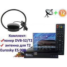 Акция на Комплект DVB-S2/T2 Комбинированный тюнер Eurosky ES-19 Combo + антенна для Т2 комнатная Eurosky ES 008 ОMEGA с усилителем 5В от Allo UA