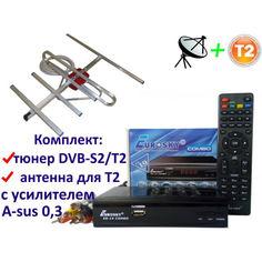 Акция на Комплект DVB-S2/T2 Комбинированный тюнер Eurosky ES-19 Combo + антенна для Т2 комнатная с усилителем A-sus 0,3 от Allo UA