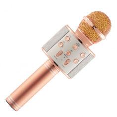 Акция на Беспроводный Bluetooth караоке микрофон с изменением голоса WSTER WS-858 Розовый Original Rose Gold от Allo UA