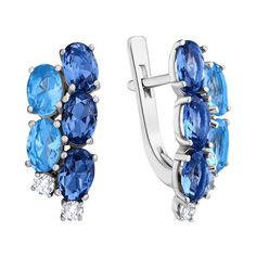 Серебряные серьги с кварцем под лондон топаз, голубым кварцем и фианитами 000063601 от Zlato