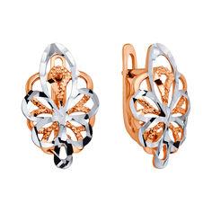 Золотые серьги в комбинированном цвете с алмазной гранью 000126238 от Zlato