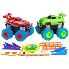 Акция на Автомобильный трек Trix Trux набор 2 машинки с трассой (красный/зеленый) от Allo UA