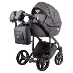 Акция на Детская коляска универсальная 2 в 1 Adamex Luciano кожа 100%  Q102 графит от Allo UA