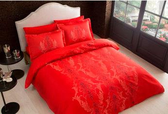 Комплект постельного белья TAC Сатин Delux Mauna V04 kirmizi 200x220 см (TAC60200813) от Rozetka