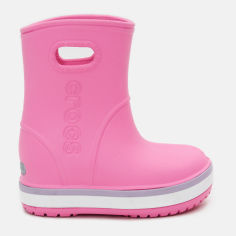 Резиновые сапоги Crocs Crocband Rain Boot 205827-6QM-J3 34-35 21.7 см Розовые с лавандовым (191448410527) от Rozetka